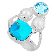 925 silver 6.31cts blue arizona mohave turquoise topaz pearl ring size 6 r57564
