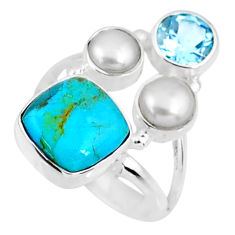 925 silver 6.31cts blue arizona mohave turquoise topaz pearl ring size 6 r57610
