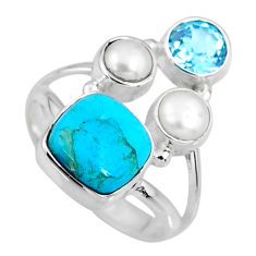 925 silver 6.30cts blue arizona mohave turquoise topaz pearl ring size 8 r57594