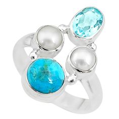 925 silver 6.04cts blue arizona mohave turquoise topaz ring size 7.5 t10467