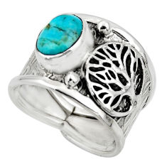925 silver 3.16cts blue arizona mohave turquoise tree of life ring size 7 r49919