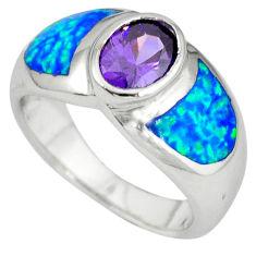 925 silver blue australian opal (lab) amethyst ring jewelry size 7.5 c15768