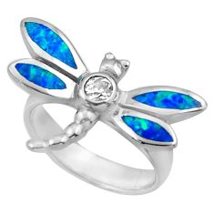 925 silver 0.53cts blue australian opal (lab) dragonfly ring size 5.5 c26256