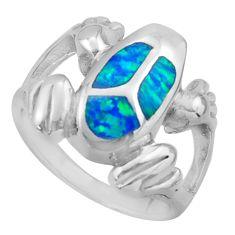 925 silver 8.69gms blue australian opal (lab) enamel frog ring size 8 c26252