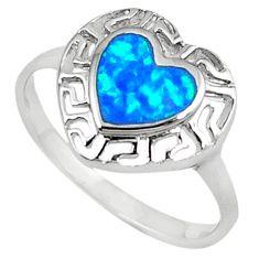 925 silver blue australian opal (lab) enamel heart ring jewelry size 8 c15855