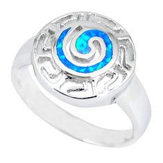 925 sterling silver blue australian opal (lab) enamel ring size 7.5 c15777
