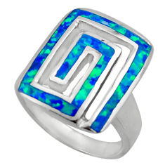 925 silver 8.02gms blue australian opal (lab) enamel ring size 6.5 c26260