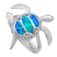 925 silver 6.89gms blue australian opal (lab) enamel tortoise ring size 7 c26244