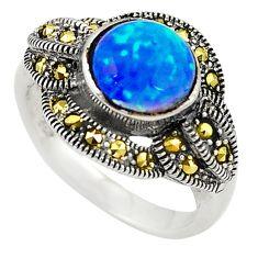925 silver blue australian opal (lab) marcasite ring jewelry size 5.5 c21894