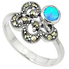 925 silver blue australian opal (lab) marcasite ring jewelry size 9 c17655