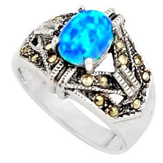 925 silver 1.40cts blue australian opal (lab) oval marcasite ring size 6 c25855