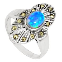 925 silver 0.97cts blue australian opal (lab) oval marcasite ring size 7 c22994