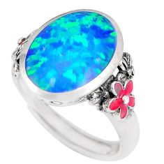 925 silver 3.75cts blue australian opal (lab) red enamel ring size 6.5 c22992
