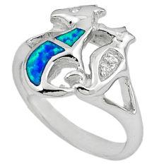 925 silver blue australian opal (lab) seahorse ring jewelry size 7.5 c15783