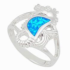 925 silver blue australian opal (lab) seahorse ring size 5.5 a73464 c24474