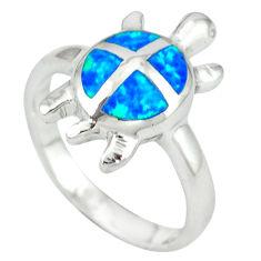 925 silver blue australian opal (lab) tortoise ring jewelry size 6.5 c15822