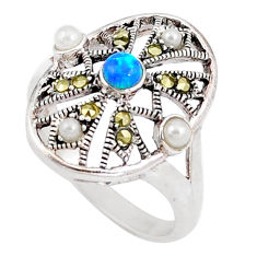 925 silver 1.22cts blue australian opal (lab) white pearl ring size 7.5 c25856