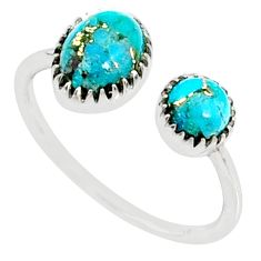 925 silver 2.76cts blue copper turquoise adjustable ring jewelry size 9.5 r68907