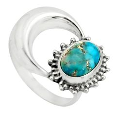 925 silver 3.32cts blue copper turquoise solitaire ring half moon size 7 r26744