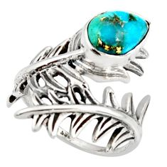 925 silver 2.44cts blue copper turquoise solitaire ring jewelry size 8 r37016