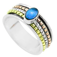 925 silver blue doublet opal australian two tone spinner band ring size 9 t51899