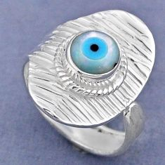 925 silver 2.61cts blue evil eye talismans round adjustable ring size 7.5 r63327