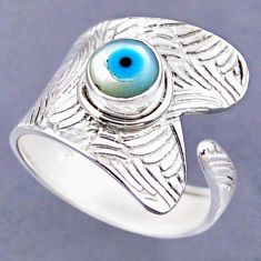 925 silver 2.55cts blue evil eye talismans round adjustable ring size 10 r54804