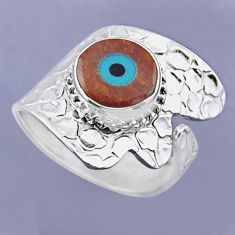 925 silver 4.69cts blue evil eye talismans round adjustable ring size 8 r54912