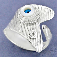 925 silver 2.34cts blue evil eye talismans round adjustable ring size 9 r63442