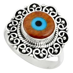 925 silver 4.42cts blue evil eye talismans round solitaire ring size 7.5 r52475