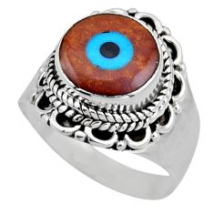925 silver 4.43cts blue evil eye talismans solitaire ring jewelry size 6 r53404