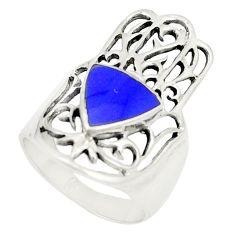 925 silver blue lapis lazuli hand of god hamsa ring jewelry size 75.5 c12743