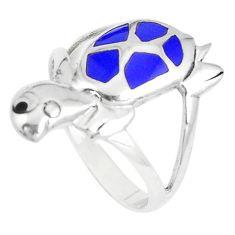 925 silver 3.89gms blue lapis lazuli onyx enamel ring jewelry size 8.5 c21949