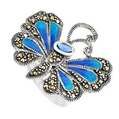 925 silver 1.18cts blue sapphire (lab) marcasite butterfly ring size 5.5 c21384