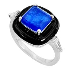 925 silver 3.91cts blue sapphire (lab) topaz black enamel ring size 6 c20093
