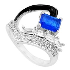 925 silver 3.91cts blue sapphire (lab) topaz enamel ring jewelry size 7.5 c20047