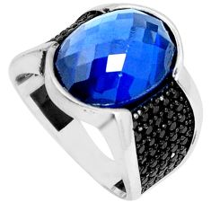 925 sterling silver 12.62cts blue sapphire (lab) topaz mens ring size 9.5 c11453
