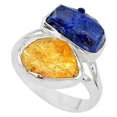 925 silver 11.23cts blue sapphire druzy citrine rough fancy ring size 7 t10488