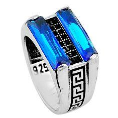 925 sterling silver blue sapphire quartz black onyx mens ring size 8 c11416