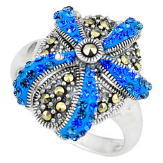 925 sterling silver blue sapphire quartz swiss marcasite ring size 7.5 c16187