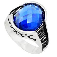 Blue sapphire quartz topaz 925 silver mens ring jewelry size 9.5 c11516