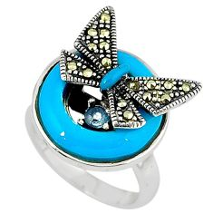 925 silver blue sleeping beauty turquoise butterfly ring size 5.5 c16088