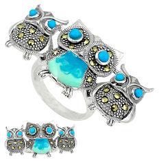 925 silver blue sleeping beauty turquoise enamel owl ring size 6.5 c18615