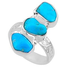 925 silver 11.15cts blue sleeping beauty turquoise fancy ring size 6 r65605