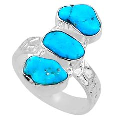925 silver 12.01cts blue sleeping beauty turquoise fancy ring size 7 r65616