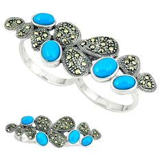 925 silver blue sleeping beauty turquoise marcasite ring size 7.5 c18619