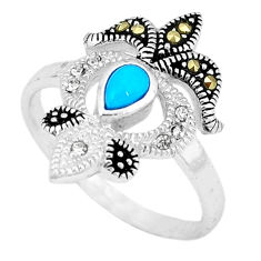 925 silver blue sleeping beauty turquoise marcasite ring size 8.5 c17633
