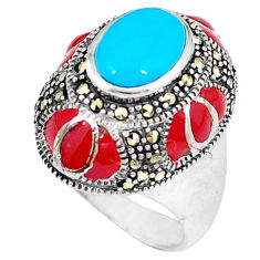 925 silver blue sleeping beauty turquoise marcasite ring size 7.5 c16033