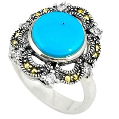 925 silver blue sleeping beauty turquoise marcasite ring size 6.5 c16370