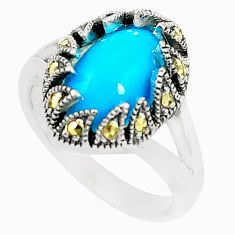 925 silver blue sleeping beauty turquoise marcasite ring size 7.5 c17618